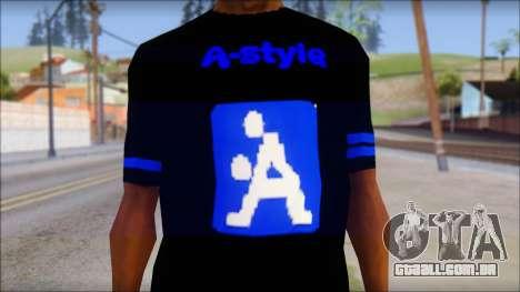 T-Shirt A-Style para GTA San Andreas terceira tela