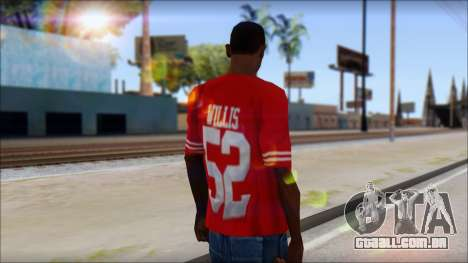 San Francisco 69ers 52 Willis Red T-Shirt para GTA San Andreas segunda tela