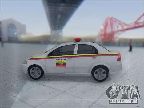 Chevrolet Aveo Милиция OHP para vista lateral GTA San Andreas
