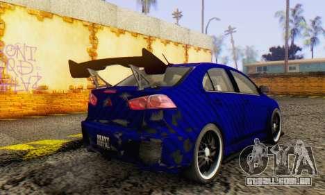 Mitsubishi Lancer EVO X Carbon Coloured para GTA San Andreas vista direita