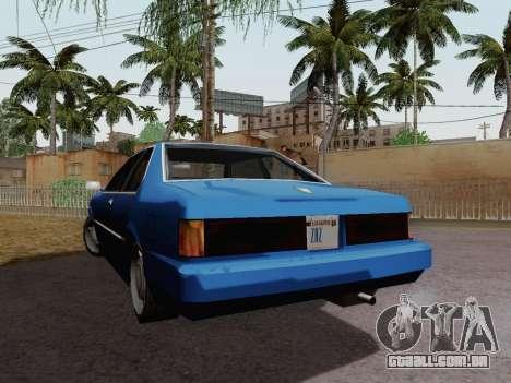 Sentinel Coupe para GTA San Andreas traseira esquerda vista