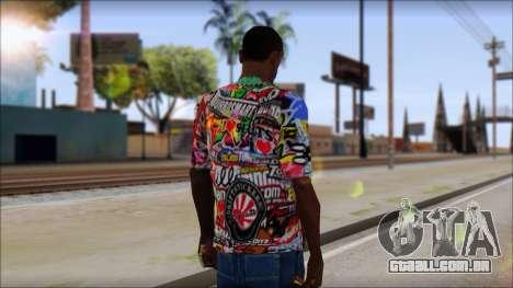 Sticker Bomb T-Shirt para GTA San Andreas segunda tela