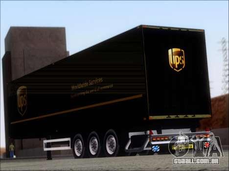 Прицеп United Parcel Service para GTA San Andreas traseira esquerda vista