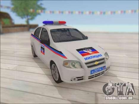 Chevrolet Aveo Polícia DND para GTA San Andreas vista interior