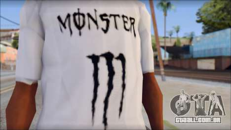 Monster Black And White T-Shirt para GTA San Andreas terceira tela