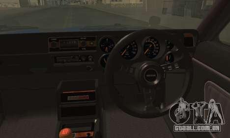 Nissan Skyline GC10 2000GT para GTA San Andreas traseira esquerda vista