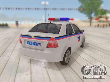 Chevrolet Aveo Polícia DND para GTA San Andreas vista traseira