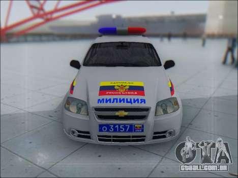 Chevrolet Aveo Милиция OHP para GTA San Andreas esquerda vista