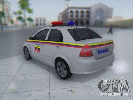 Chevrolet Aveo Милиция OHP para GTA San Andreas vista interior