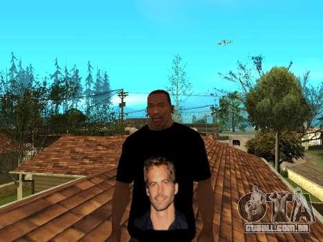 T-Shirt Paul Walker para GTA San Andreas segunda tela