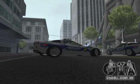 Chevrolet Corvette Z06 Police para GTA San Andreas vista direita