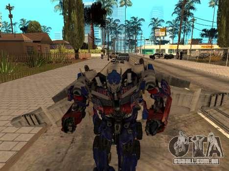 Optimus Jetpack para GTA San Andreas por diante tela