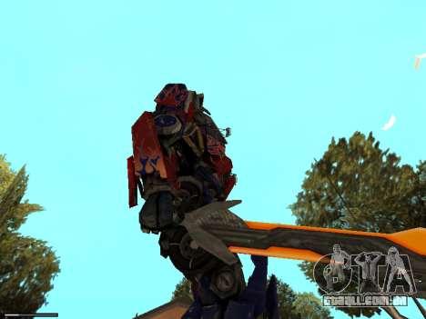 Optimus Sword para GTA San Andreas por diante tela
