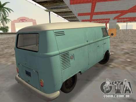 Volkswagen Type 2 T1 Van 1967 para GTA Vice City deixou vista