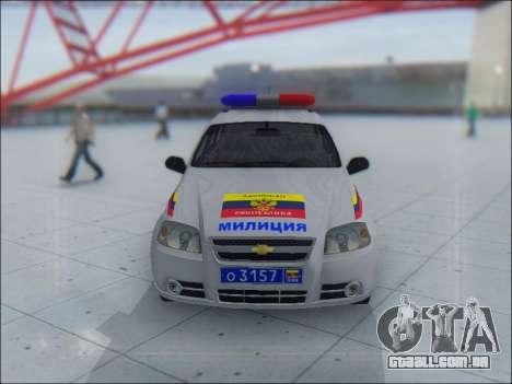 Chevrolet Aveo Милиция OHP para GTA San Andreas vista inferior