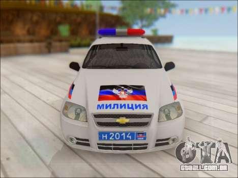Chevrolet Aveo Polícia DND para vista lateral GTA San Andreas