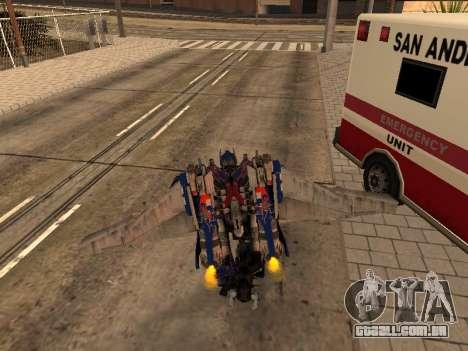 Optimus Jetpack para GTA San Andreas sexta tela