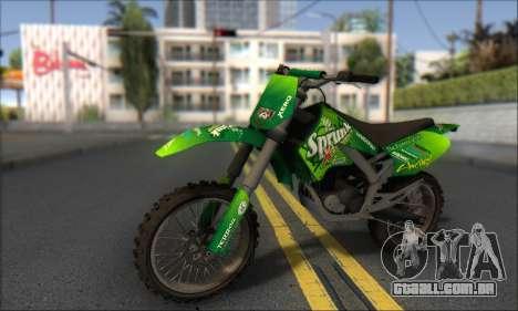 Sanchez From GTA V para GTA San Andreas traseira esquerda vista