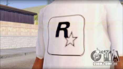 Rockstar Games White T-Shirt para GTA San Andreas terceira tela