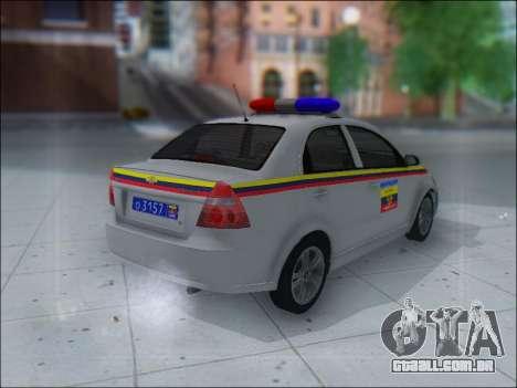 Chevrolet Aveo Милиция OHP para GTA San Andreas vista direita