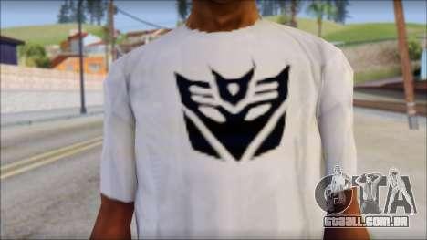 Decepticon T-Shirt para GTA San Andreas terceira tela