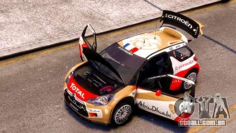 Citroen DS3 WRC para GTA 4 traseira esquerda vista