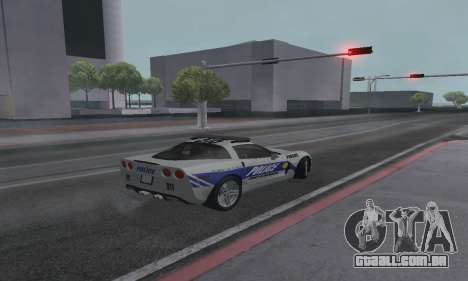 Chevrolet Corvette Z06 Police para GTA San Andreas esquerda vista