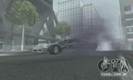 Chevrolet Corvette Z06 Police para GTA San Andreas traseira esquerda vista