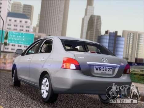 Toyota Yaris 2008 Sedan para GTA San Andreas traseira esquerda vista