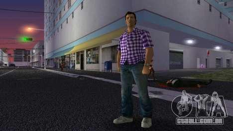 Kockas polo - lila T-Shirt para GTA Vice City por diante tela