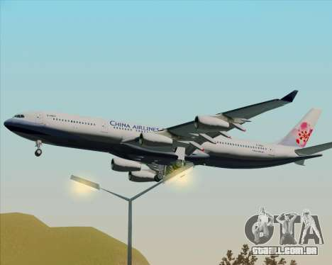 Airbus A340-313 China Airlines para GTA San Andreas vista traseira