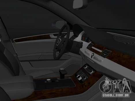 Audi A8 2010 W12 Rim1 para GTA Vice City vista interior