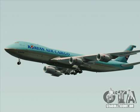 Boeing 747-8 Cargo Korean Air Cargo para GTA San Andreas traseira esquerda vista