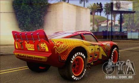 Lightning McQueen para GTA San Andreas esquerda vista