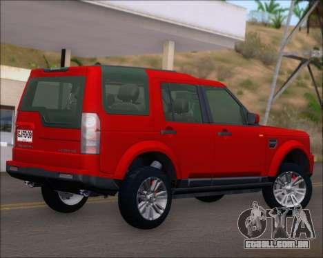 Land Rover Discovery 4 para GTA San Andreas vista traseira