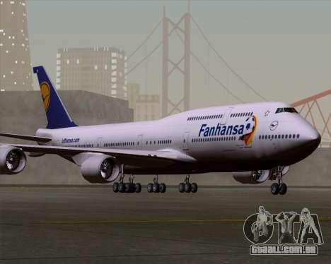 Boeing 747-830 Lufthansa - Fanhansa para GTA San Andreas esquerda vista