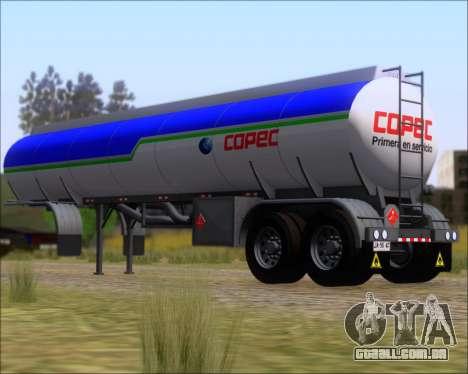 Tanque de reboque Carro Copec para GTA San Andreas traseira esquerda vista