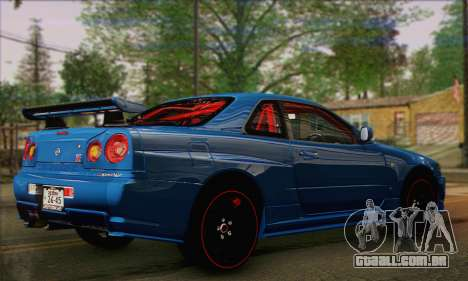 Nissan Skyline GTR34 para GTA San Andreas esquerda vista