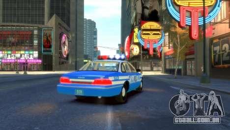 Ford Crown Victoria 1994 NYPD para GTA 4 traseira esquerda vista