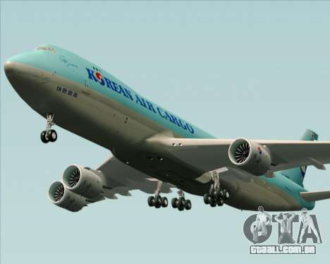 Boeing 747-8 Cargo Korean Air Cargo para GTA San Andreas vista interior