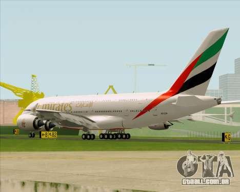 Airbus A380-841 Emirates para GTA San Andreas traseira esquerda vista