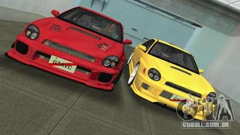 Subaru Impreza WRX 2002 Type 4 para GTA Vice City vista traseira