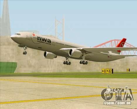 Airbus A330-300 Northwest Airlines para as rodas de GTA San Andreas