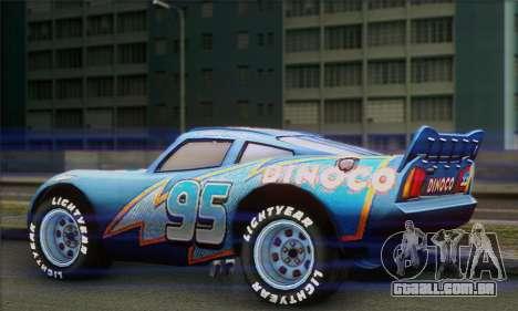 Lightning McQueen Dinoco para GTA San Andreas esquerda vista