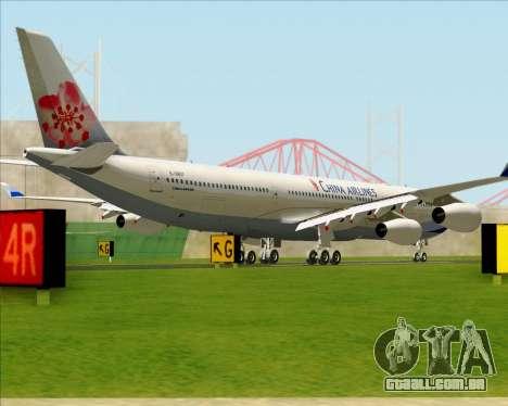 Airbus A340-313 China Airlines para GTA San Andreas traseira esquerda vista