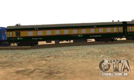 Pakistan Railways Train para GTA San Andreas traseira esquerda vista