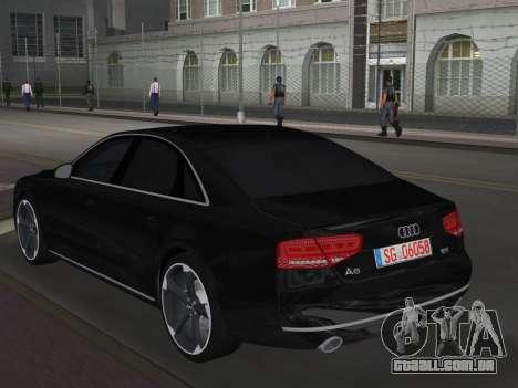 Audi A8 2010 W12 Rim6 para GTA Vice City vista traseira esquerda