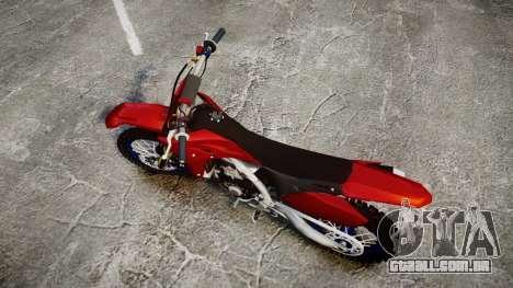 Yamaha YZF-450 Custom para GTA 4 vista direita