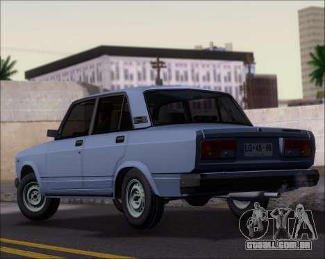 LADA 2107 para GTA San Andreas traseira esquerda vista