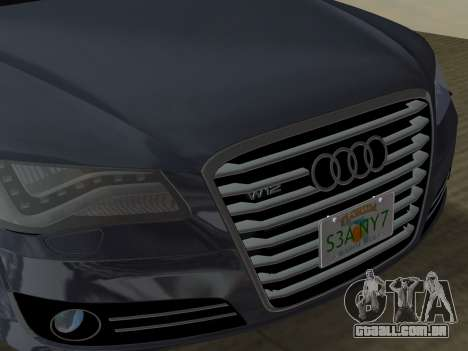 Audi A8 2010 W12 Rim6 para GTA Vice City vista inferior